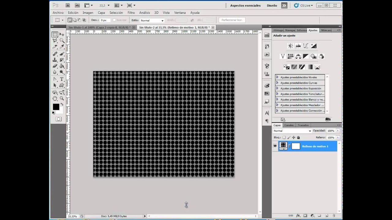 Photoshop CS5 - Crear un Motivo Tipo Malla Metalica, en pocos pasos ...