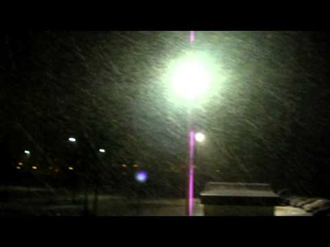 Snowing Outside my Window at Night 16.12.10 Aberdeen