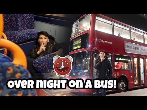 I Spent The Night In A Bus And It Was CRAZY! (24 Hour Overnight Challenge In A Bus!)