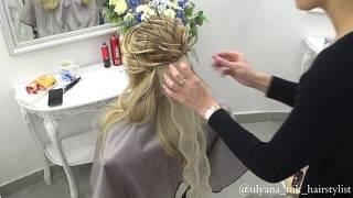 Греческая коса в технике воздушных жгутов с элементами розы.Обучение.Показ.