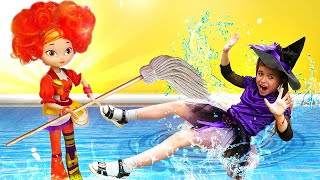 Игры для девочек - Ведьмочка Юлли и Аленка из м/ф Сказочный патруль делают уборку