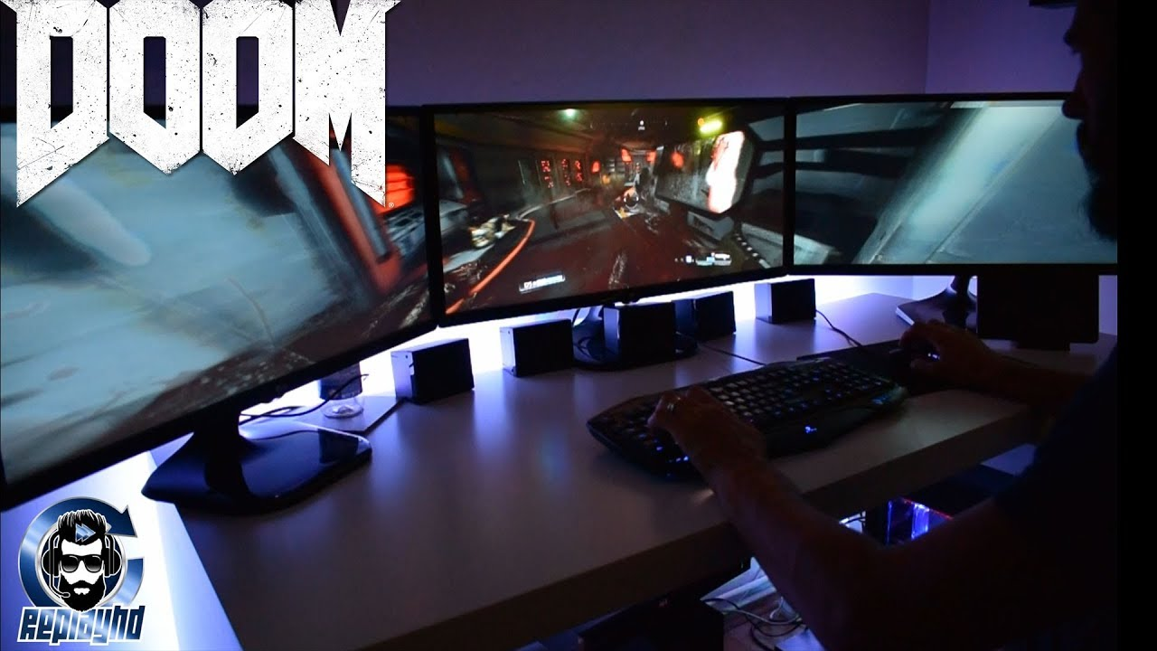 DOOM Triple Monitor Gameplay 7860 x 1080 ( Flawless Widescreen )