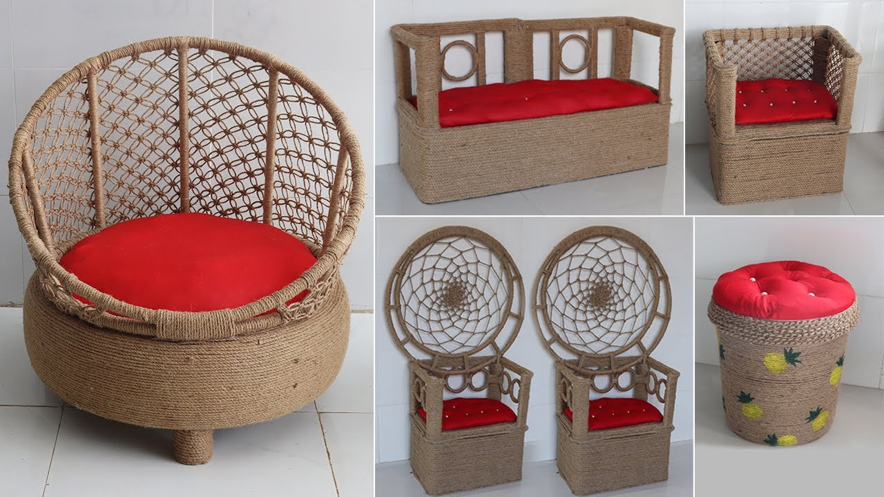 Amazing Reuse Ideas Waste material into Modern Chairs, Jute craft idea