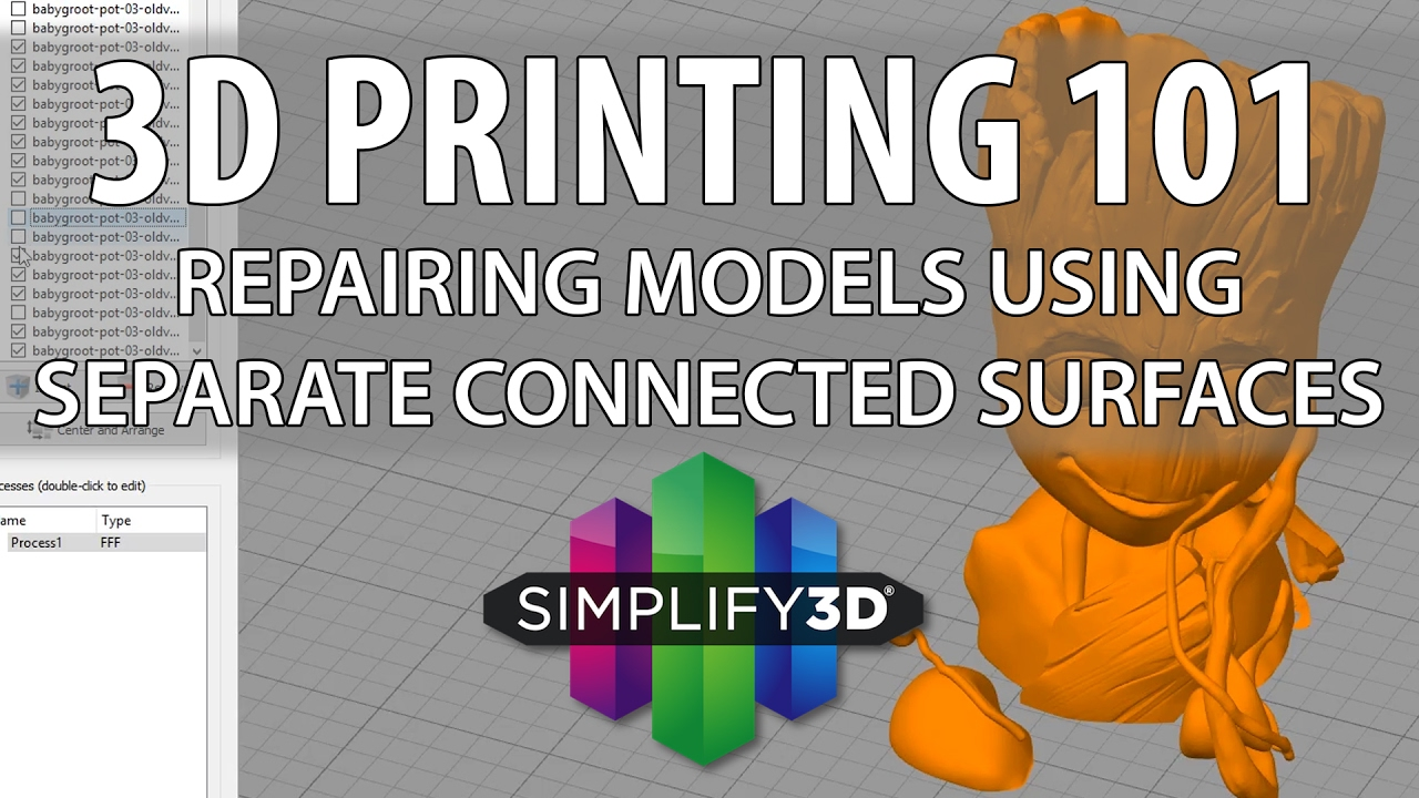 3D Printing 101 with Simplify3D and Separate Connected Surfaces
