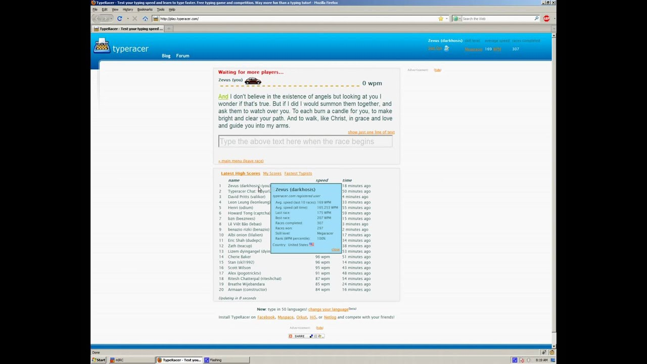 Increase your typing speed while racing Sean Wrona | The TypeRacer Blog