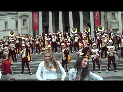 USC Trojan Marching Band Dance to the Music Trafalgar Square, London 2012