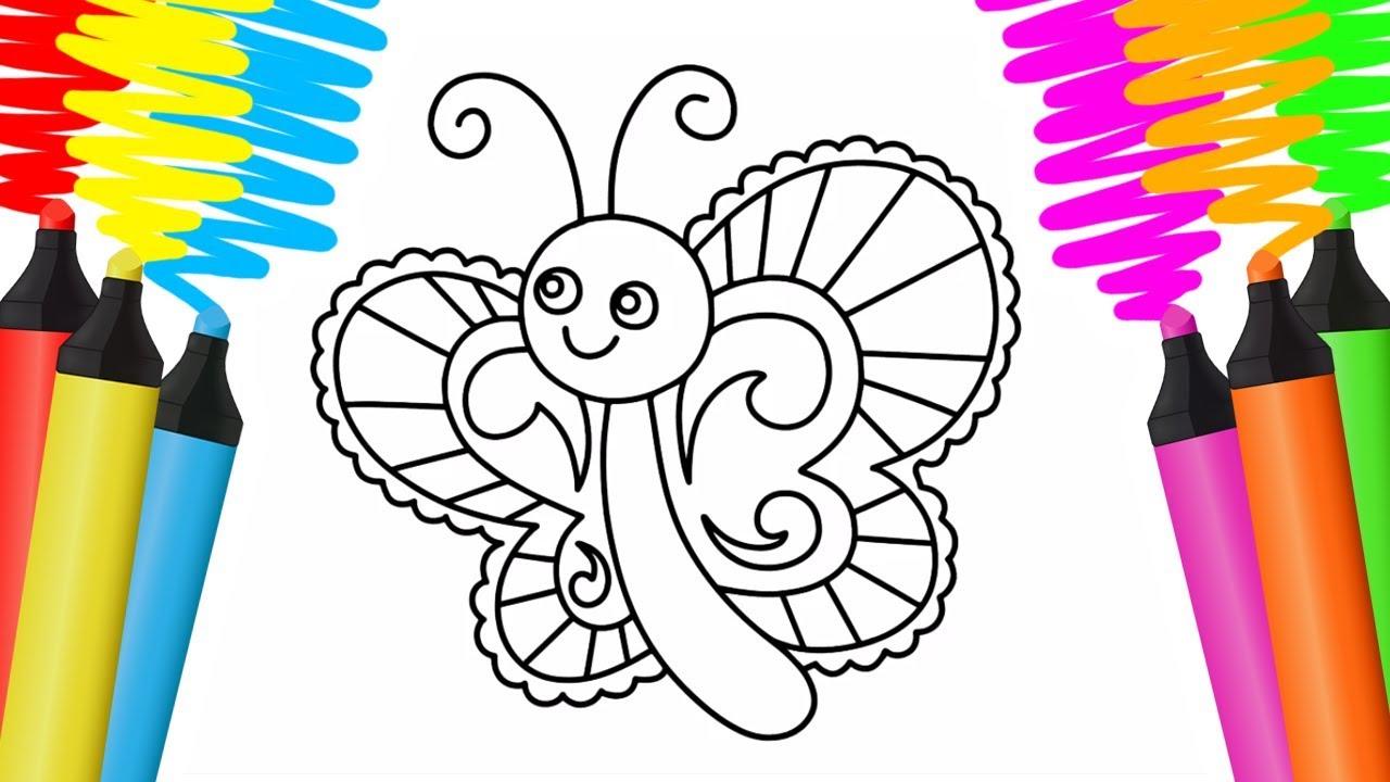 Como Desenhar E Colorir Borboleta E Luminaria Pintar E Aprender