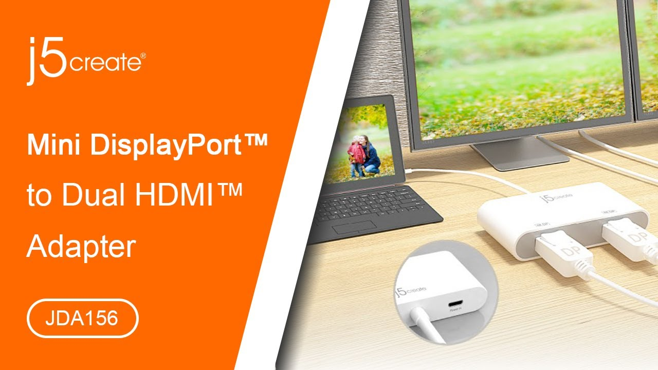 j5create® Mini DisplayPort™ to Dual HDMI™ Adapter JDA156