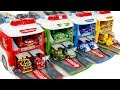Transforming fire station police station Vehicle and disney cars Play toys funny video for kids