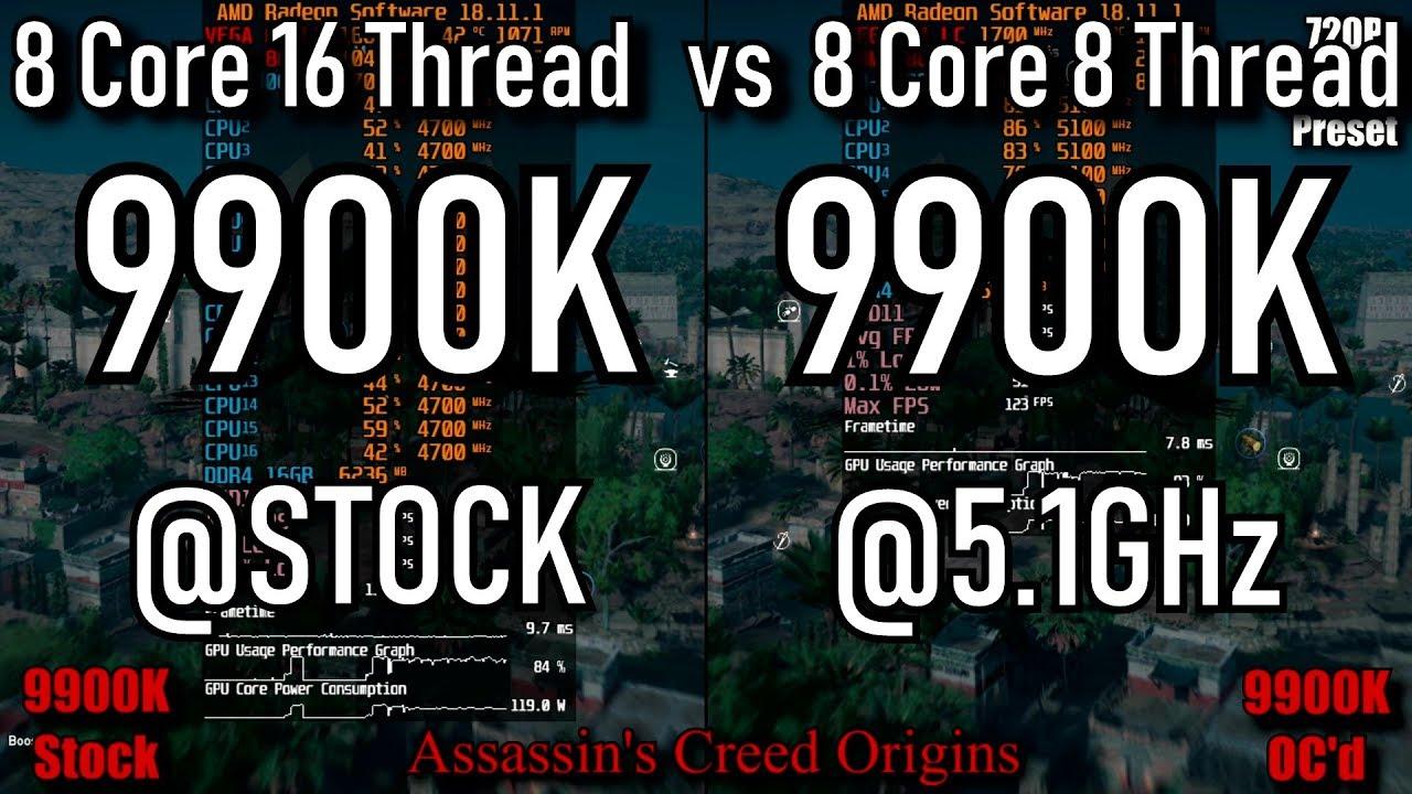 9900k Stock vs 9900k@5 1GHz 8 Core only   9 games Tested   Vega 64 LC