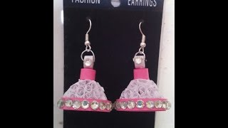 How to make paper quilling earrings/jhumkas