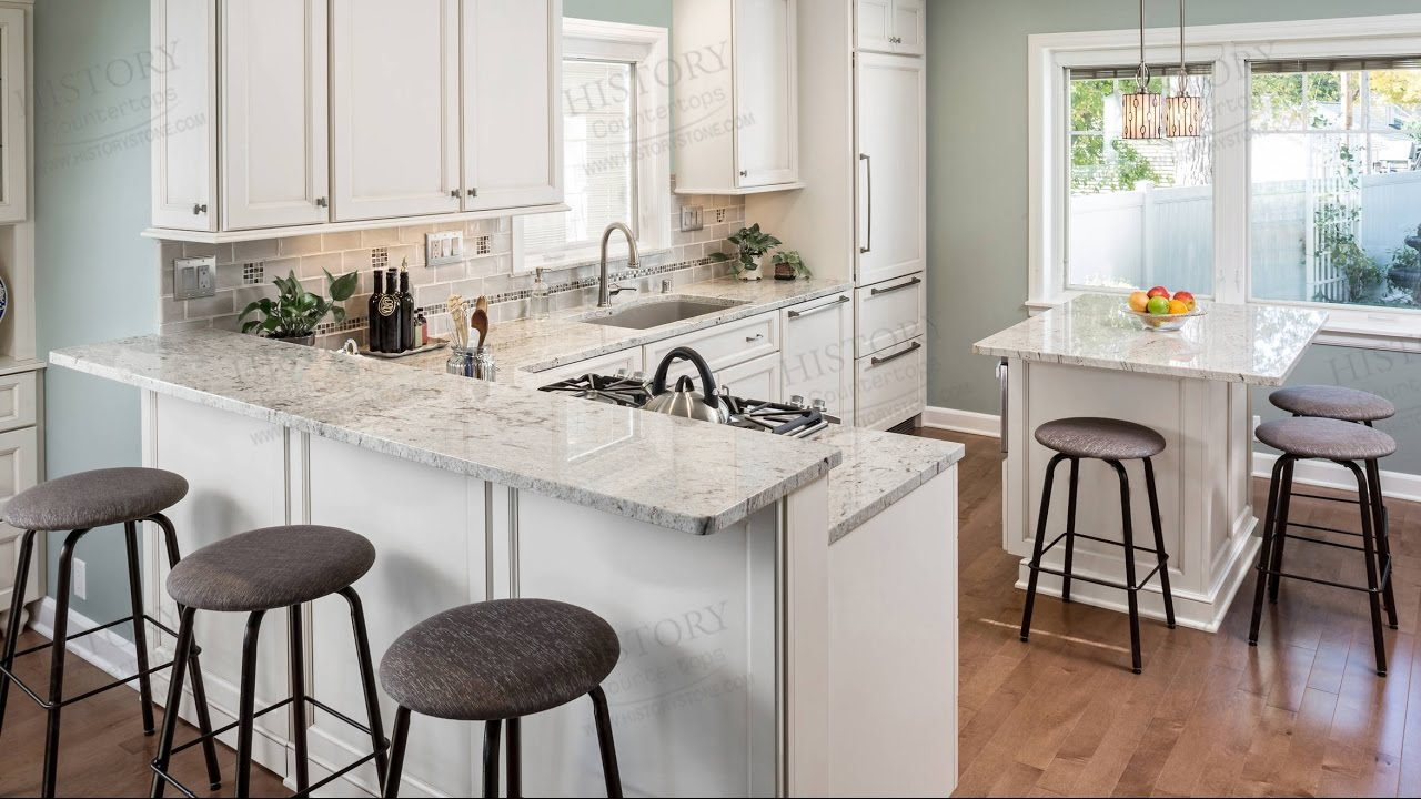 River white granite countertops in kitchen youtube for Show me beautiful kitchens