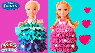 Play Doh Colorful Dresses Making for Frozen Little Princess Elsa & Anna Surprise Toys For Kids