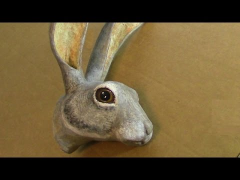 3-D Pattern for Paper Mache Jackrabbit Head
