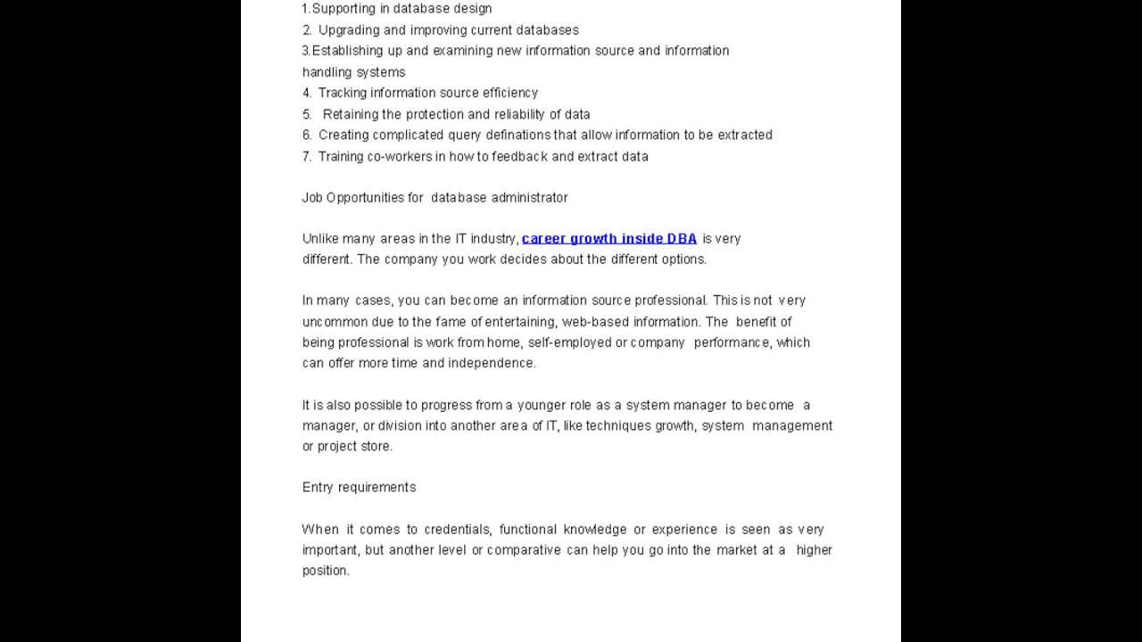Database Administrator Job Description Salary and YouTube – Database Administrator Job Description