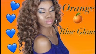 Blue and Orange Cut Crease Makeup Tutorial | Ft.  Outre Wigs: Ashani