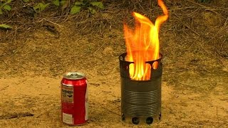 How To Make A Compact Wood Gas Stove Just From Cans.  Efficient Portable Diy Wood Gas Camping Stove.