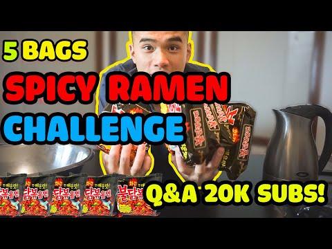 QT| 5 BAGS SPICY RAMEN CHALLENGE | 20K Q&A