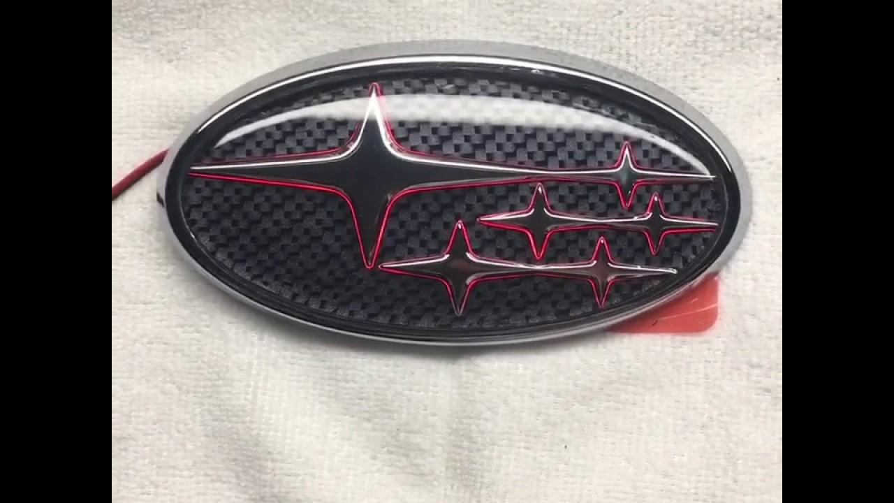 Carbonfiber Background With Red Led Rear Subaru Emblem Youtube
