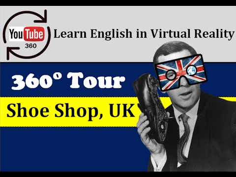 Learn English in Virtual Reality - 360° English Lesson - Shoe Shop   LinguapracticaVR