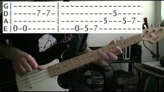 bass guitar lesson Kansas carry on wayward son tab