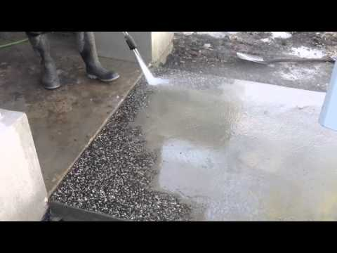 Washing exposed aggregate concrete (Elcon)