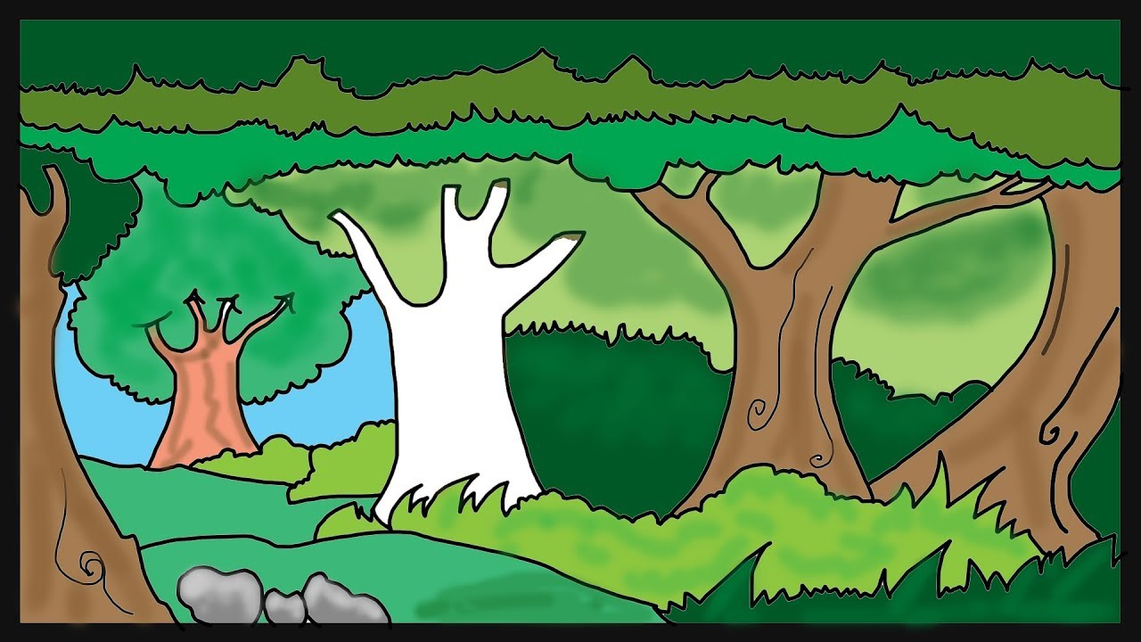 Trees Drawing & Coloring For Kids│Coloring Pages For Children ...
