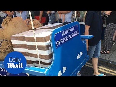 Whitstable comes out to celebrate annual oyster festival - Daily Mail