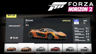 Forza Horizon 2 ALL CARS w/ STATS RETAIL NO DLC NO BONUS