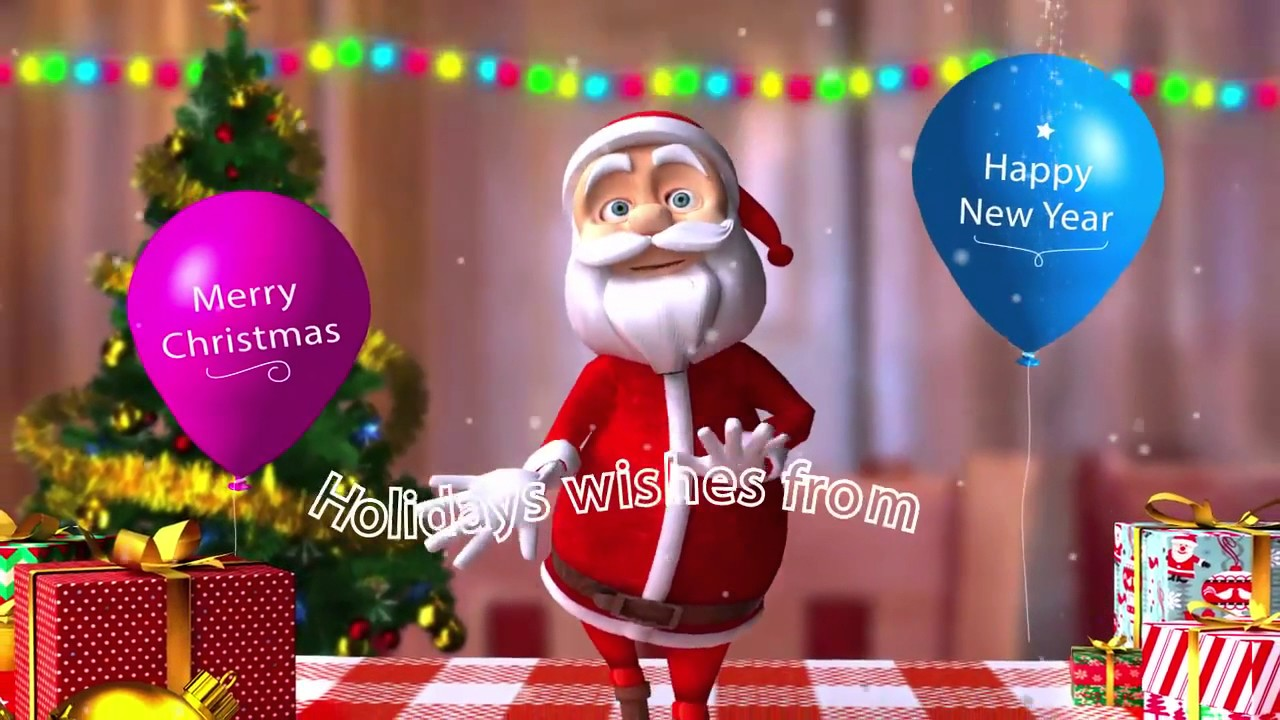 Attractive Funny Dancing SANTA Christmas Greeting 3D Animation Logo Reveal Intro