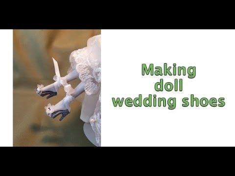 Making doll wedding shoes