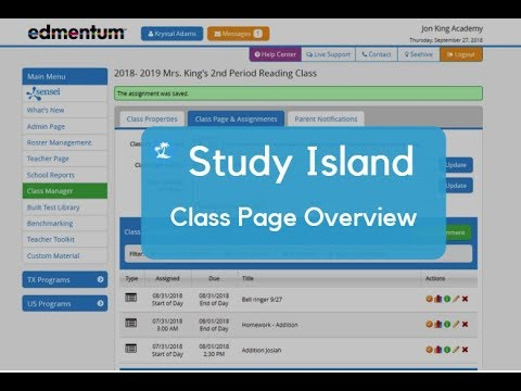 Study Island: Class Page and Assignments