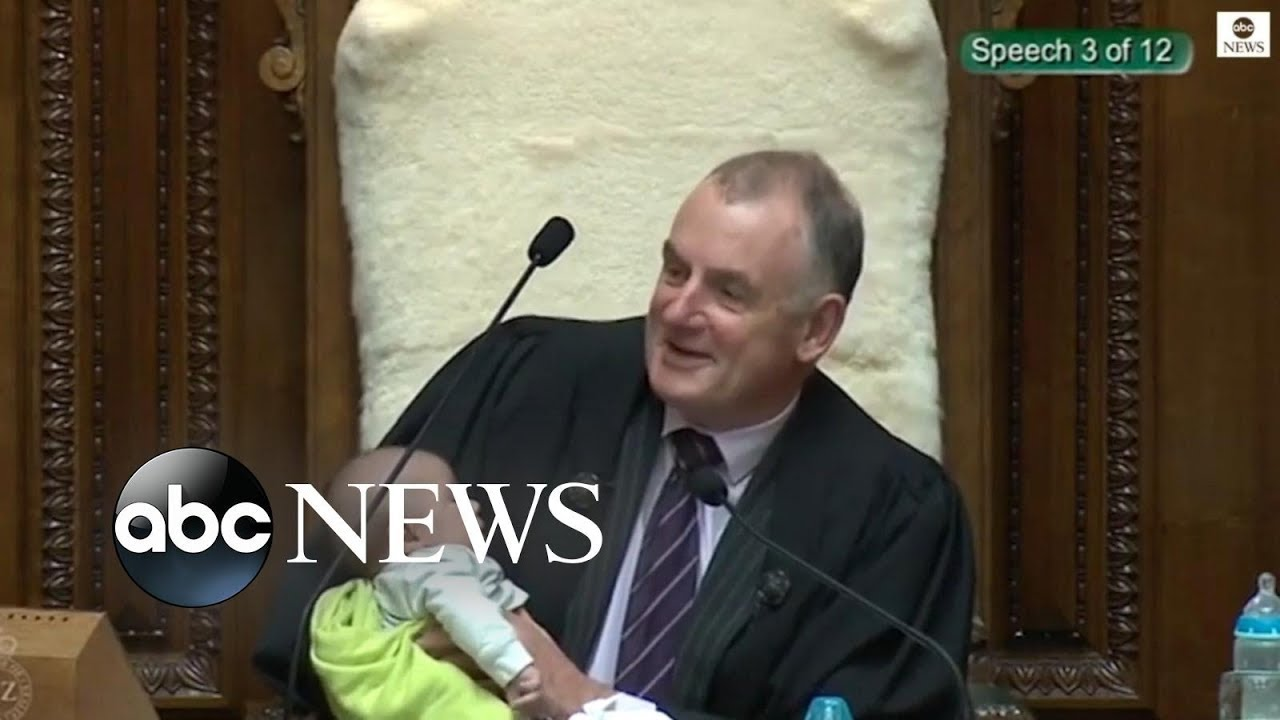 ABC News:New Zealand parliament speaker cradles politician's baby during debate