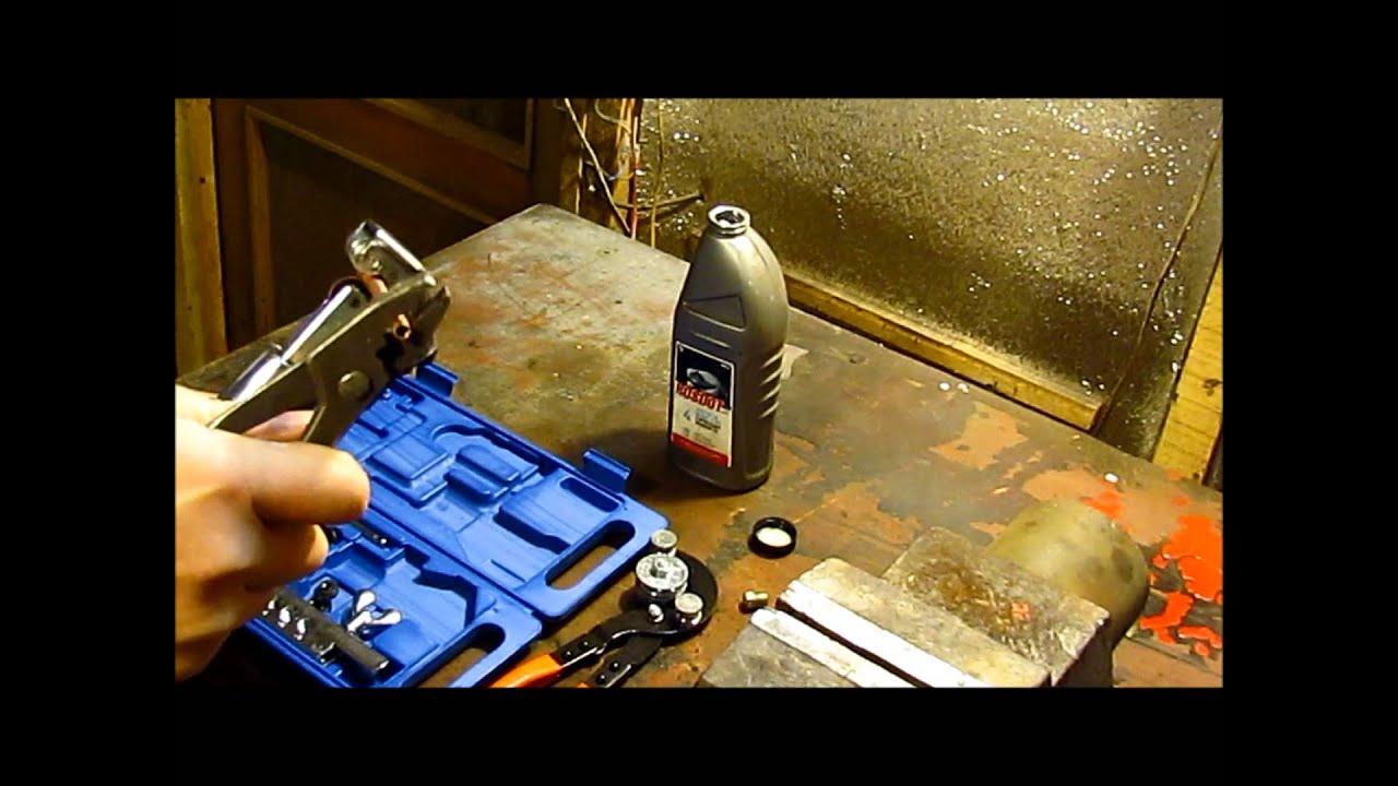 Как развальцевать тормозную трубку, развальцовка, как сделать тормозную трубку, медную трубку.