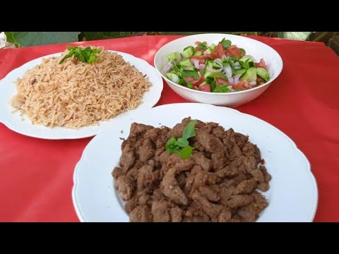 beef steak strip with rice recipe by Naama food corner