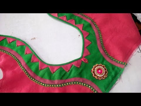 simple and easy blouse back neck designe cutting and stitching at home