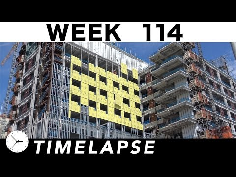 Construction time-lapse with 22 closeups: Week 114: Curtain wall glass; welding; ext walls; more