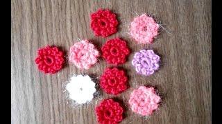 Вязаные цветы малютки крючком видео урок(Цветочек малютку вяжу из 1 метра нити крючком №2. Набираю 5 воздушных петель, замыкаю в кольцо. Обвязываю..., 2015-11-18T19:12:46.000Z)