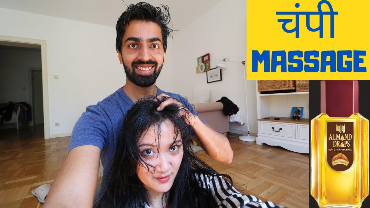 WILL CHINESE WIFE ENJOY INDIAN HAIR OIL MASSAGE? || 中印夫妻互相打头?带你体验真正的印度精油头部按摩!