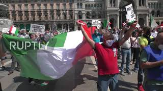 Italy: Right-wing protesters rally in Milan on Republic Day