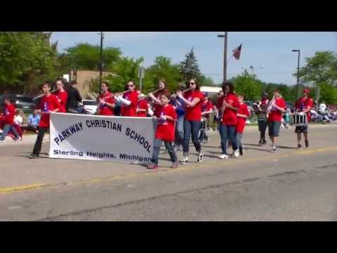 Sterling Heights Parkway Christian school marching band at Memorial Day parade
