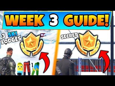 Fortnite WEEK 3 CHALLENGES GUIDE! - Three Ski Lodges STAR + Secret STAR (Battle Royale Season 7) thumbnail