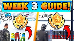 Fortnite WEEK 3 CHALLENGES GUIDE! - Three Ski Lodges STAR + Secret STAR (Battle Royale Season 7)
