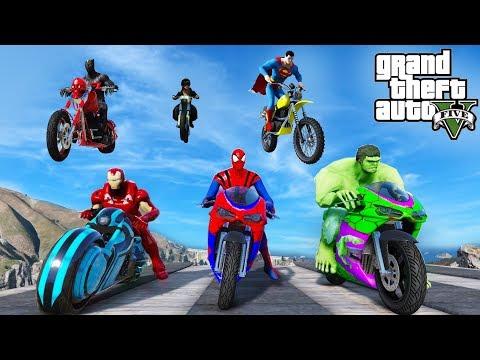 Super Heroes Bikes Extreme Ultra Ramp Jump With Spiderman,Hulk,Iron Man