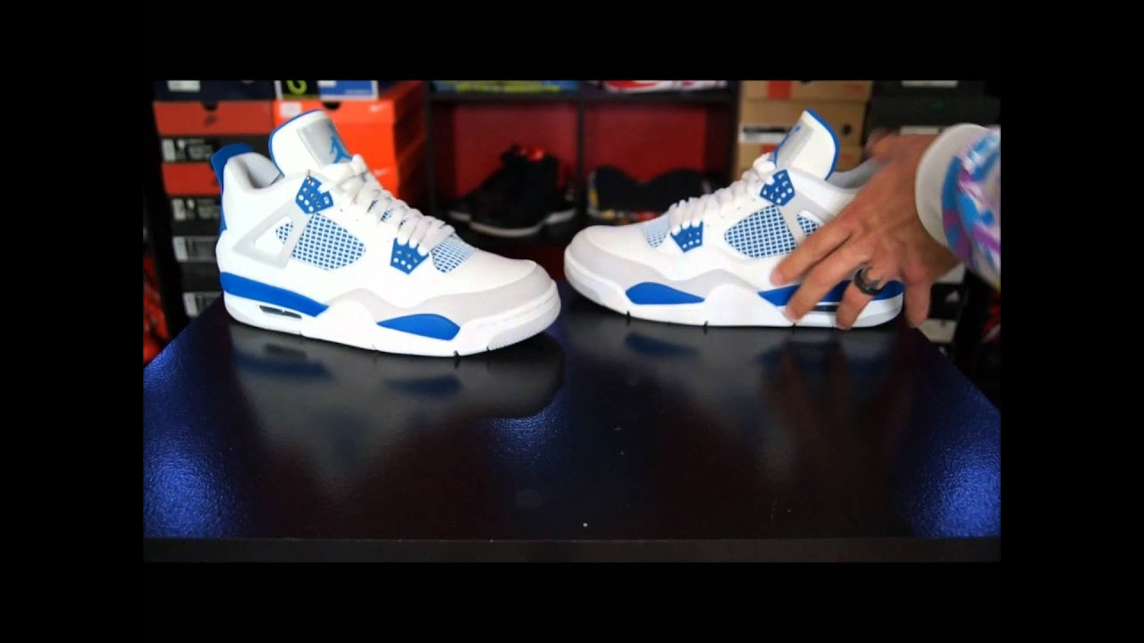 14d57aa4 Air Jordan IV (4) Retro White/ Military Blue 2012 - YouTube
