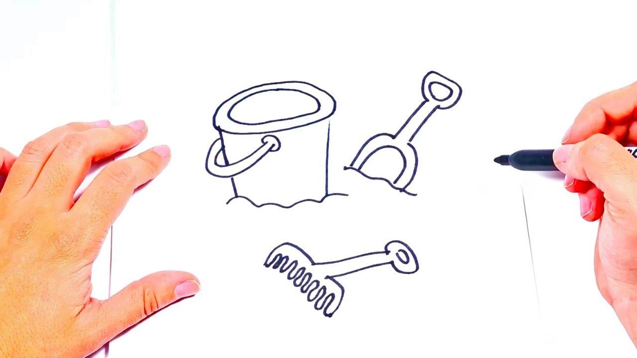 Como Dibujar Un Cubo Y Una Pala De Arena Para La Playa Youtube