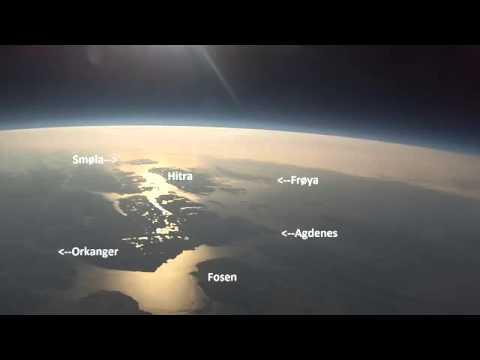 Камера GoPro HD почти в космосе 33 км. Хорошо видно солнце
