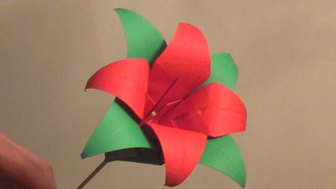 Origami Lily Flower Tutorial How to make an Origami Lily Flower