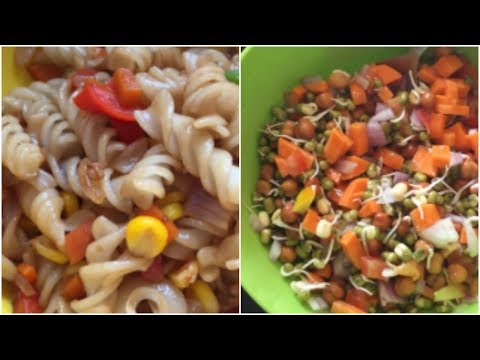 2 recipes for kids and lunch box ||mixed vegetable pasta || sprouts salad
