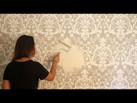 How to Stencil an Embossed Wall with Raised Designs & Joint Compound ...